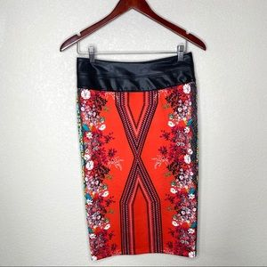 Bisou Faux Leather & Red Pencil Skirt Women's 4